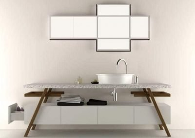 Modern Bathroom Sink Design with Mirror Mounted on the Wall