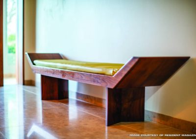 Long Wooden Bench With Cushion