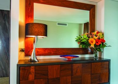 Entrance Drawers with Lamp and a Wall Mounted Mirror