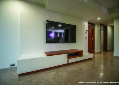 Spacious Living Room with Wall Mounted TV Unit