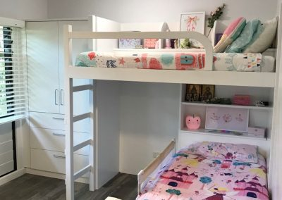 Bunk bed for kids with built-in cabinet