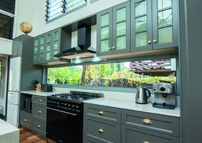 Kitchen with cupboards and pull-out drawers