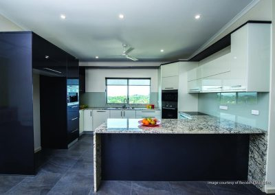 Granite kitchen with marble benchtop