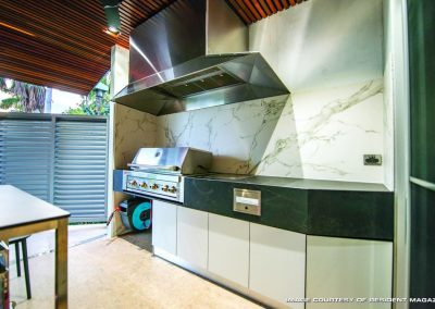 Barbeque Area with marble walls