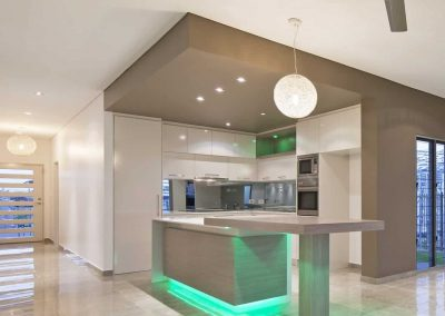 Modern Kitchen with Green led light under the built in sink at the middle