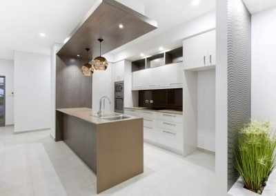 Modern Kitchen with wooden built in benchtop sink