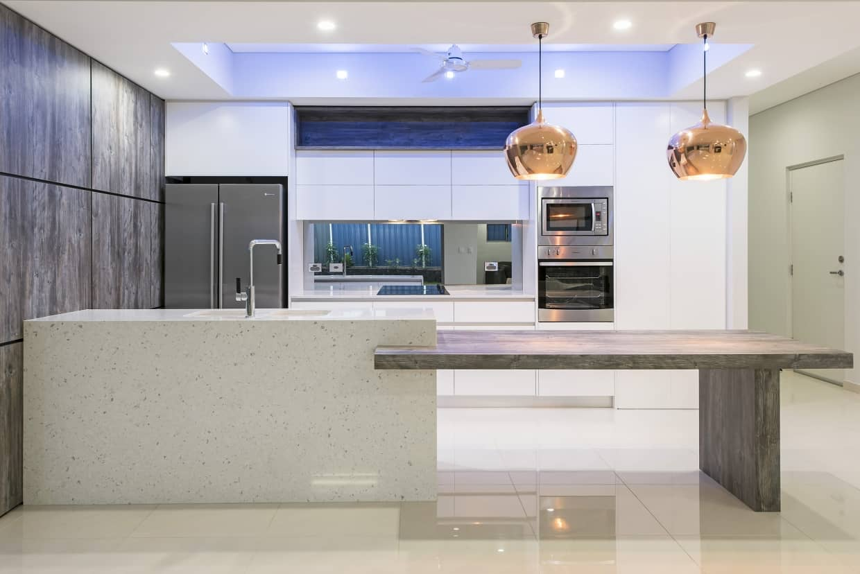 Marble Built In Sink Kitchen with Wall Mounted Oven and Microwave