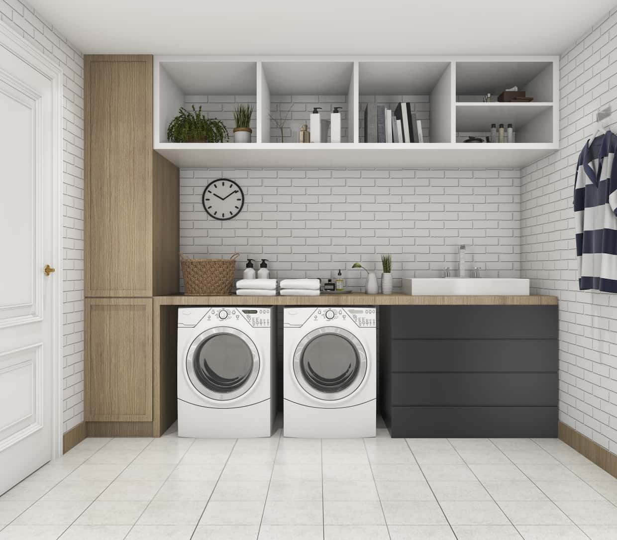 Brick Wall Design Laundry Area with Cupboards