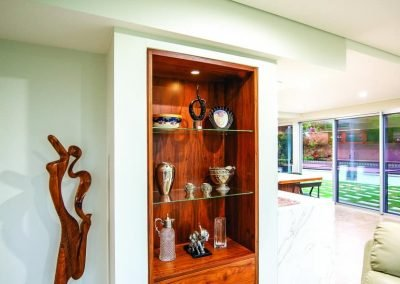 Collections shelves with glass partition