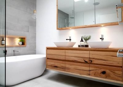 Wooden Bathroom Sink with Pull-out Drawers and a Wall-mounted Mirror